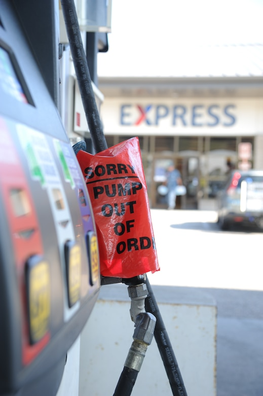 Gasoline pumps temporarily ran out of gas at the Keesler Express Aug. 27, 2012, at Keesler Air Force Base, Miss., while awaiting an en route gas shipment.  Keesler personnel are taking preventative measures to prepare and protect themselves and Keesler's assets as the base commander has declared HURCON 3, meaning destructive winds of 58 MPH or greater are expected as Isaac approaches. (U.S. Air Force photo by Kemberly Groue)