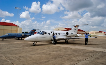 T-1 Jayhawks from the 479th Flying Training Group arrive at the south ramp at Joint Base San Antonio-Randolph, Texas, Aug. 27.  Thirty-four aircraft and 60 accompanying aircrew members were evacuated from their home station, Naval Air Station Pensacola, Fla., in anticipation of Hurricane Isaac.  The 479th FTG is a geographically separated unit of the 12th Flying Training Wing and conducts the Air Force's only Combat Systems Officer training program. (U.S. Air Force photo by Bekah Clark)