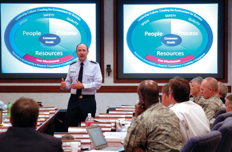 Representatives from each of the eight Air Force Sustainment Center wings and center staff listen as Lt. Gen. Bruce Litchfield, AFSC commander, talks about cost-effective sustainment and other center issues during an AFSC senior leader conference at Tinker AFB, Aug. 22-24.  (U.S. Air Force Photo by Margo Wright)