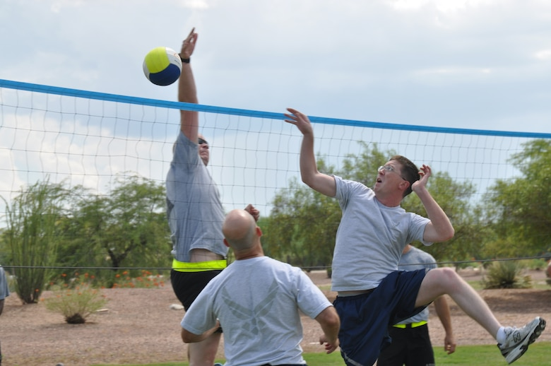 DAVIS-MONTHAN AFB, Ariz. – Members of 12th Air Force (Air Forces Southern) participate in sports day as part of the 70th Anniversary Celebration here, Aug. 24. (Photo by Master Sgt. Kelly Ogden/Released).