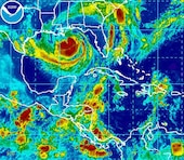 Satellite image of Tropical Storm Isaac.  (Credit NOAA)