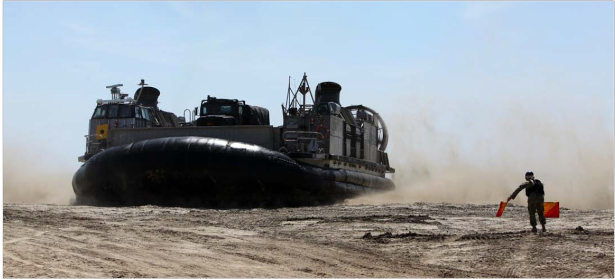 A Landing Craft Air-Cushioned hovercraft with Combat Logistics Battalion 13, Combat Logistics Regiment 17, 1st Marine Logistics Group, lands on Red Beach during an amphibious landing exercise with I Marine Expeditionary Force at Camp Pendleton, Calif., April 18.