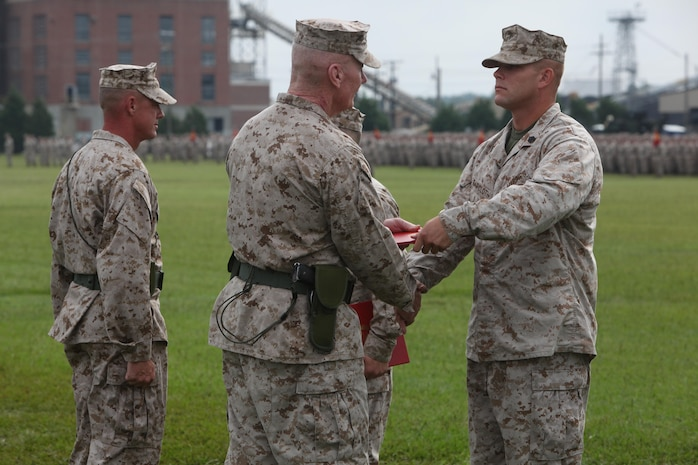 Staff Sgt. Matthew E.Faircloth, the section leader with Weapons Company, 2nd Battalion, 8th Marine Regiment, 2nd Marine Division, was awarded a Bronze Star Medal with a combat distinguishing device Aug. 23 during the 2nd Marine Division change of command ceremony.  Faircloth, a Hedgesville, W. Va., native, earned the award for his actions in combat on February 16, 2011.