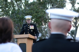 Brig. Gen. Vincent A. Coglianese, the commanding general of Marine Corps Installations-West and Marine Corps Base Camp Pendleton, addresses the attendees of Camp Pendleton's Evening Colors Ceremony, held at the historical Santa Margarita Ranch House, Aug. 28.