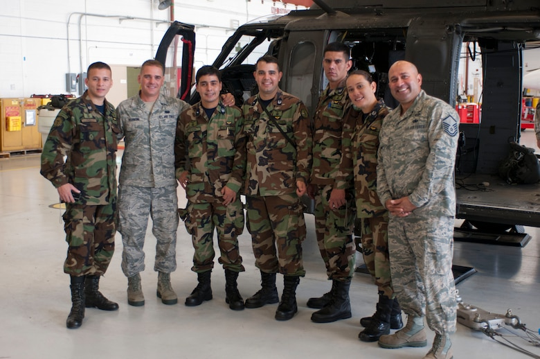 From left to right: 2nd Lt. Jose Miguel Perez Baez, Senior Airman Luiz Vicentini, 1st Lt. Milciades Antonio Oviedo Peralta, 1st Lt. Diego Armando Lopez Galeano, 2nd Lt. Milder David Mosqueira Roa, 2nd Lt. Lilian Rossana Mosqueira Romero, and Master Sgt. Carlos Alicea. (Air National Guard photo by Master Sgt. Aaron Smith/Released)