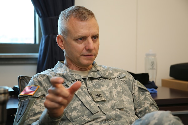 U.S. Army Col. Jim Chevallier, newly installed 502nd Air Base Wing and Joint Base San Antonio vice commander, discusses his vision of the joint base Aug. 24 at JBSA-Fort Sam Houston.