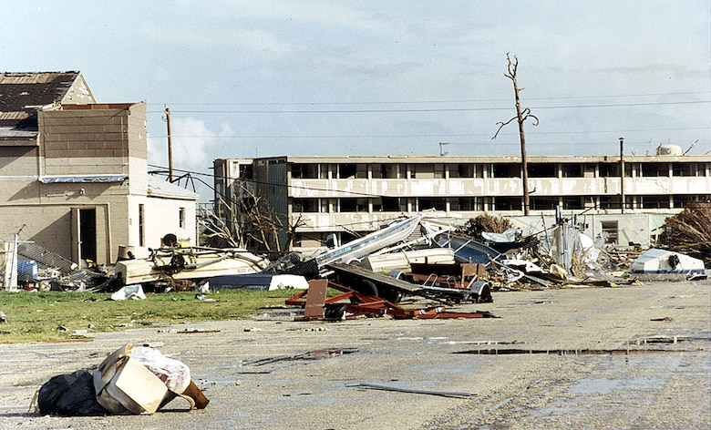 Destruction of Homestead Air Force Base after Hurricane Andrew. (U.S. Air Force photo)