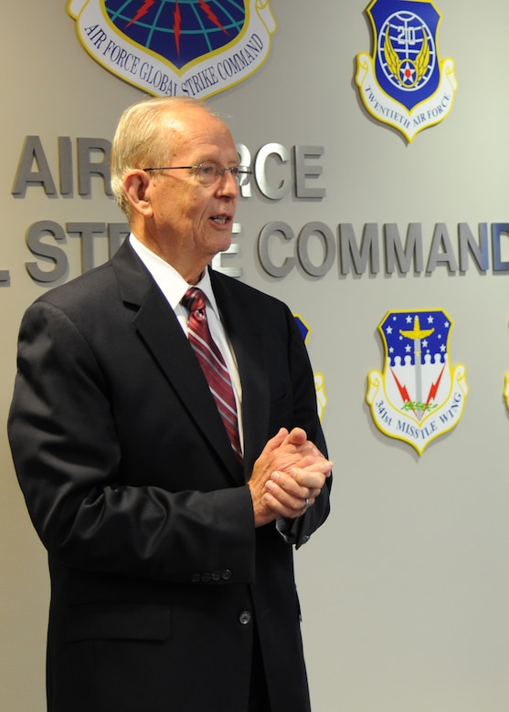 Gen. (retired) Larry D. Welch gives remarks at the dedication ceremony for the conference room named after him at Air Force Global Strike Command headquarters on Barksdale Air Force Base, La., Aug. 27. (U.S. Air Force photo/Airman 1st Class Joseph A. Pagán Jr.)(RELEASED)