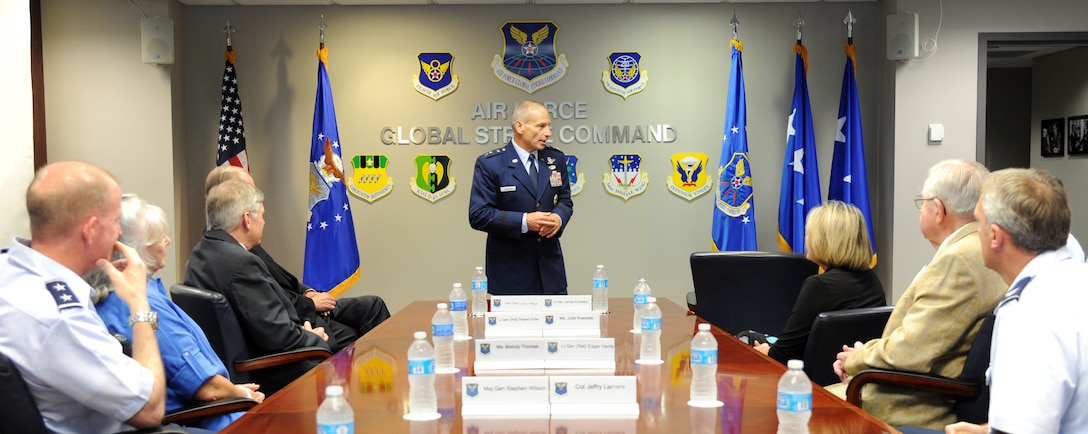 Lt. Gen. Jim Kowalski, Air Force Global Strike Command commander, gives remarks at the dedication ceremony for the conference room named after Gen. (retired) Larry D. Welch on Barksdale Air Force Base, La., Aug. 27. (U.S. Air Force photo/Airman 1st Class Joseph A. Pagán Jr.)(RELEASED)