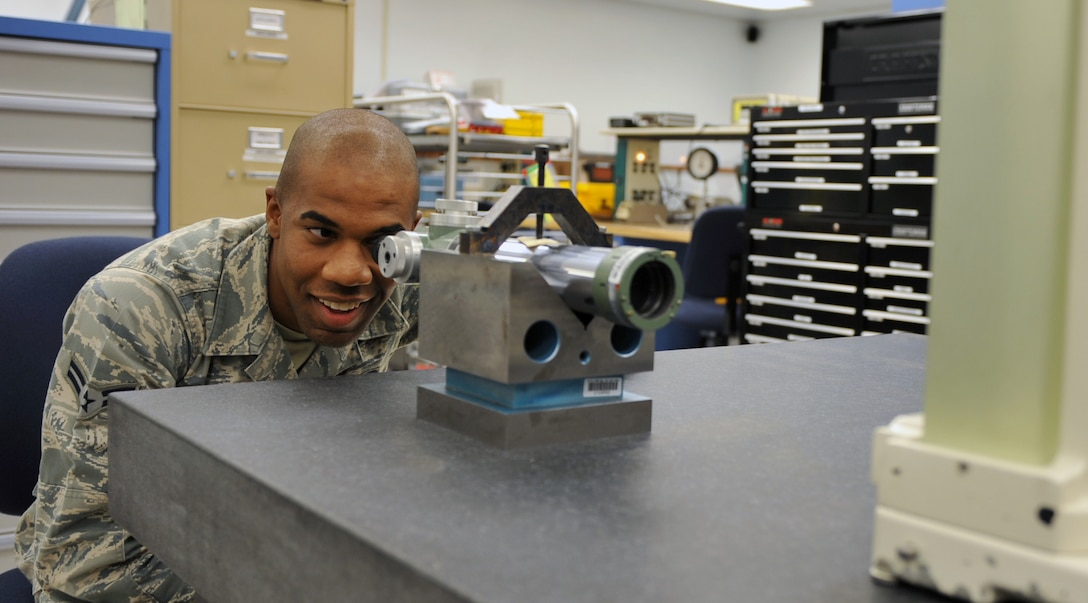 U.S. Air Force Airman 1st Class Jason Stackens serves as a 366th Component Maintenance Squadron precision measurement equipment laboratory technician and was selected as the squadron's Warrior of the Week. (U.S. Air Force photo/Airman 1st Class Heather Hayward)