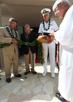 APCSS Director, retired U.S. Air Force Lt. Gen. Dan Leaf, left; U.S. Senator Daniel Inouye; and Admiral Samuel J. Locklear III, U.S. Pacific Command, participate in the tradition blessing during the official opening of Maluhia Hall, a new state-of-the-art learning center, at the Asia-Pacific Center for Security Studies.  The $11.4 million learning center brings more than 10,000 sq ft of additional classroom space to support U.S. Department of Defense institute's security cooperation and executive education programs.
