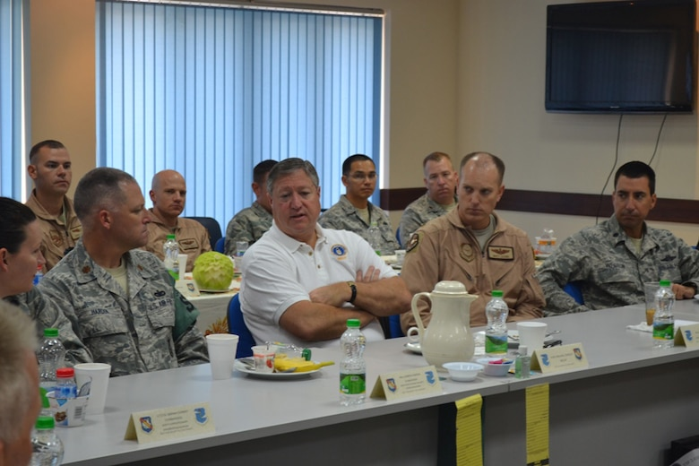 SOUTHWEST ASIA – Secretary of the Air Force Michael B. Donley, center, visits with members of the South Dakota Air National Guard's 114th Security Forces Squadron during a leadership breakfast while on a visit to Southwest Asia Aug. 24, 2012. The 114th SFS, based out of Joe Foss Field in Sioux Falls, S.D., has been deployed since April and has been providing law enforcement, troop escort and security work within a base in Southwest Asia. (U.S. Air Force photo by 405th Expeditionary Security Forces Squadron) (RELEASED)