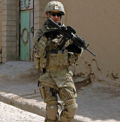 Tech. Sgt. Kenneth Wright takes part in a security patrol during his deployment to Afghanistan. Wright is assigned to the 509th Logistics Readiness Squadron as the vehicle maintenance low bay NCO in charge. Wright was deployed from June 2011 until March 2012. (Courtesy Photo)