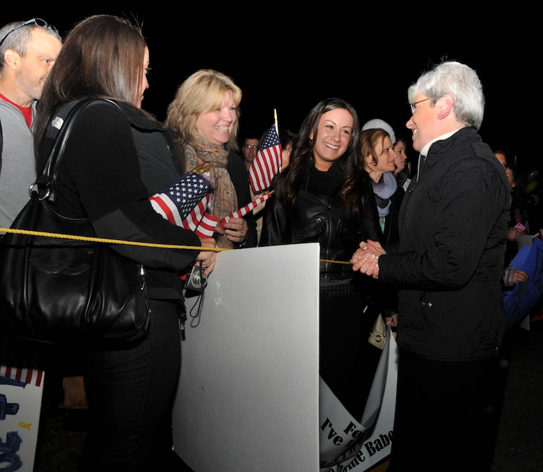 Connecticut Lieutenant Governor Nancy Wyman greets families during a homecoming for deployed Airmen from the 103rd Air Control Squadron at Bradley Air National Guard base, East Granby, Conn., Tuesday, Nov. 20, 2012. The Airmen completed a six-month tour of duty in Southwest Asia and returned home just in time for Thanksgiving. (U.S. Air Force photo by Senior Airman Emmanuel Santiago)