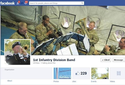 The 1st Infantry Division Band has a page on Facebook.  Like them, www.facebook.com/pages/1st-Infantry-Division-Band/222284694453461