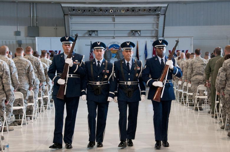 The 162nd Fighter Wing's Honor Guard performs during the annual awards ceremony to honor the wing's outstanding Airmen. U.S Air Force Photo by Tech. Sgt. Hollie Hansen.