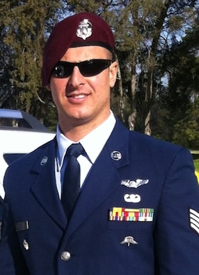 Staff Sgt. Brandon Forshaw, an Air Force Reserve pararescueman with the 920th Rescue Wing's 308th Rescue squadron, proudly wears his maroon beret, the distinctive PJ headwear, which he earned after nearly three years of training. (Courtesy photo)