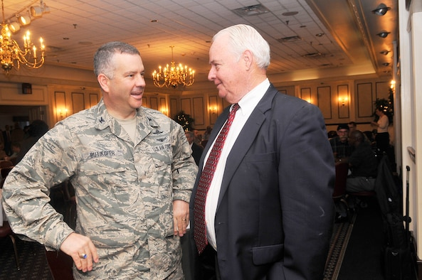 Col. Mitch Butikofer, 78th Air Base Wing commander, talks with Paul Nagle, Combined Federal Campaign director, at the Robins 2012 Combined Federal Campaign victory celebration Wed. at Horizons Event Center. Robins  exceeded its goal by raising nearly $1.5. (U. S. Air Force photo/Sue Sapp)