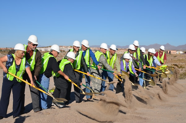 LAS CRUCES, N.M., -- Las Cruces City Officials join with Corps of Engineer representatives to breaking ground for the project.