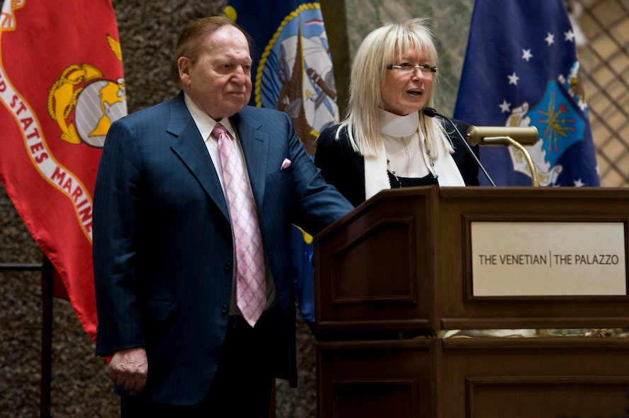 "Sheldon Adelson, owner of the Palazzo Hotel, and his wife Miriam Ochsorn, thank wounded warriors for their service during a ""Salute Our Troops"" celebration Dec. 5, 2012, in Las Vegas. Over the past six years, the local casino has hosted more than 600 veterans and their guests as part of patriotic celebrations. (U.S. Air Force photo by Airman 1st Class Christopher Tam)"