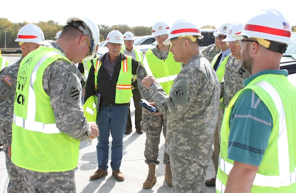 District personnel at Fort Riley showed Col. Anthony C. Funkhouser around projects on the installation. This was part of Funkhouser's four-day visit to the Kansas City District. Photo by Steve Iverson.