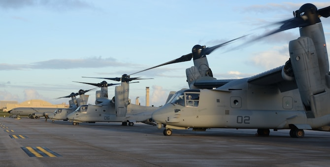 ANDERSEN AIR FORCE BASE, Guam—Three U.S. Marine Corps MV-22B Ospreys from Marine Corps Air Station Futenma, Okinawa, Japan, park on Andersen Air Force Base, Guam, December 7, 2012. The Ospreys traveled to Guam in support of Exercise Forager Fury 2012.  This is the first exercise the Ospreys have participated in since replacing the CH-46 helicopters in Okinawa. (U.S. Air Force photo by Senior Airman Benjamin Wiseman/Released)