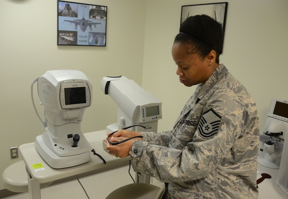 ANDERSEN AIR FORCE BASE, Guam— Master Sgt. Tamika Thomas, 36th Medical Group optometry flight chief, prepares ballistic glasses for a patient here Dec. 6. Ballistic eye protection is a safety measure for members downrange, providing laser, ballistic fragmentation, sun, wind, dust, shrapnel and free-radical protection.  (U.S. Air Force photo by Senior Airman Benjamin Wiseman/Released)