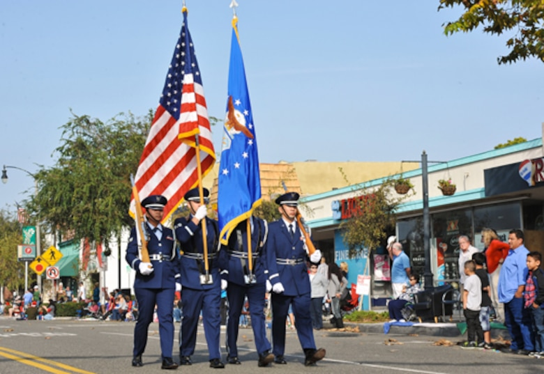 An Air Force Honor Guard heads up the El Segundo Holiday Parade, Dec. 9.  (Photo by Sarah Corrice)