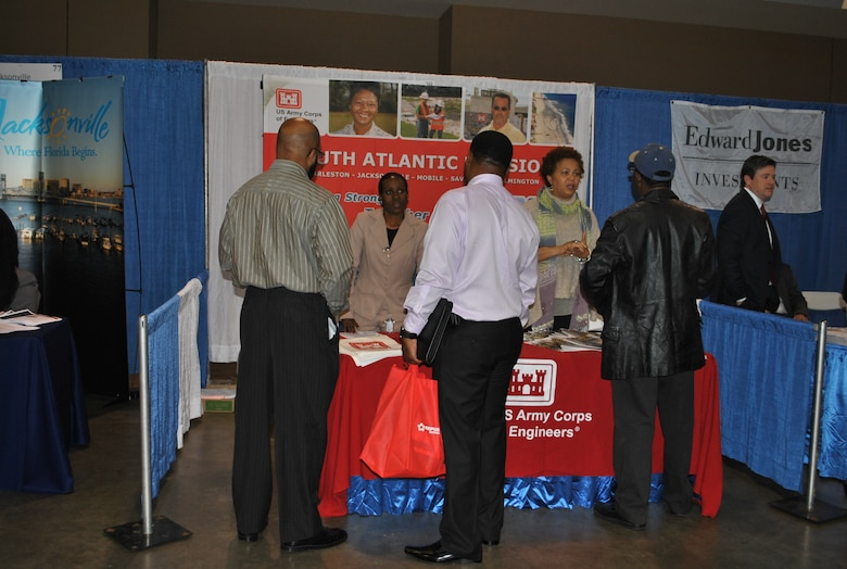 Lilly Chavis and Rosalind Smith from Human Resources provided information on employment to many veterans who visited the Corps' booth.