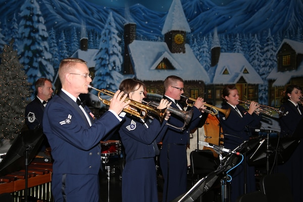 Musicians from the Band of West perform during the Holiday in Blue concert Dec. 7 at the Edgewood Independent School District Theatre of Performing Arts in San Antonio.  The Band of the West provides hundreds of performances to military and civilian audiences throughout the year.  (U.S. Air Force photo by Joel Martinez)