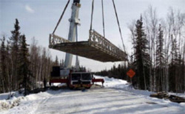 The Bailey bridge was lifted from the abutments so work could be conducted on the roadway to protect an environmentally sensitive stream.