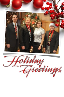 Holiday greetings from your Hill AFB leadership. From left to right: Col. Bryan Radliff, 419th Fighter Wing commander; Maj. Gen. Brent Baker Sr., Ogden Air  Lostistics Complex commander; Col. Sarah Zabel, 75th Air Base Wing commander; and Col. Scott Long, 388th Fighter Wing commander. (Graphic illustration by David Perry/U.S. Air Force)