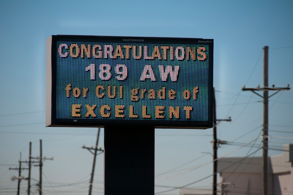 A marquee at Little Rock Air Force base congratulates the 189th Airlift Wing on it's overall 'excellent' grade that they recieved after a Combined Unit Inspection held last week.