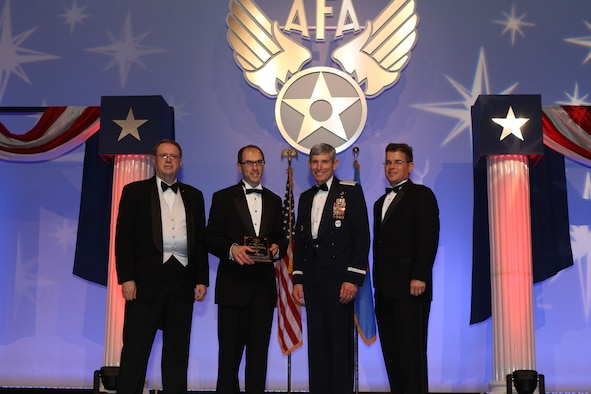 Accepting the Jimmy Doolittle Educational Fellow for Advancing Air Force Research and Development is Dr. Eli Niewood, Chairman of the Air Force Scientific Advisory Board.  General Norton A. Schwartz, Chief of Staff of the United States Air Force, presented the award and was joined by Central Florida Chapter President Michael Liquori (R) and Air Force Gala Chairman Tim Brock (L) on February 24, 2012. (Photo courtesy of the Air Force Association)