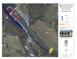 Nashville District Restricted Area Boundary Map of Cordell Hull Dam, Carthage, Tenn. (USACE image)