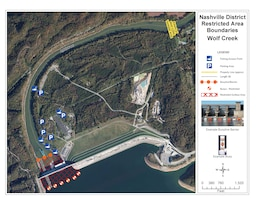 Nashville District Restricted Area Boundary Map of Wolf Creek Dam, jamestown, Ky. (USACE image)