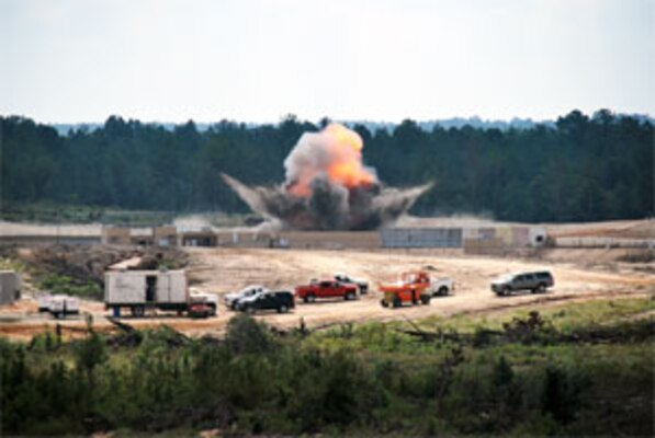ERDC researchers set off an explosion during a live-fire demonstration at Fort Polk, La.