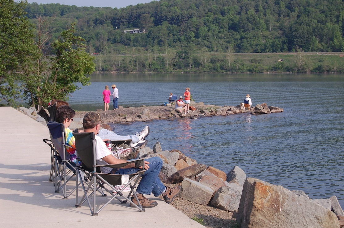 The public enjoys relaxation and fishing at one of the Baltimore District lakes.