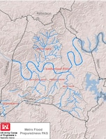 Image of Davidson County to show the watersheds that could affect the county (USACE image)