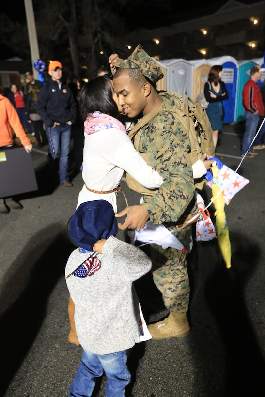 MARINE CORPS BASE CAMP LEJEUNE, N.C. – Sgt.  Jose Alvarez, a motor transportation mechanic with Charlie Company, Battalion Landing Team 1st Battalion, 2nd Marine Regiment, 24th Marine Expeditionary Unit to return home from deployment on Camp Lejeune, Dec. 16, 2012. The 24th Marine Expeditionary Unit has returned to the U.S. after completing nearly nine months deployed as an expeditionary crisis response force with the Iwo Jima Amphibious Ready Group.   Approximately 2,300 Marines and Sailors of the 24th MEU will be offloading over the next few days from amphibious assault ships USS Iwo Jima, USS New York and USS Gunston Hall. (Official U.S. Marine Corps Photo by Sgt. Richard Blumenstein)