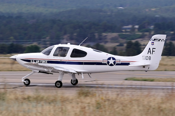 The Cirrus Aircraft T-53A is a small, single engine aircraft at the Academy that replaced the fleet of Diamond DA-40 T-52s in the spring of 2012. It is slightly larger than the T-52 and has a slightly higher horsepower engine. It provides exposure to powered flight and gives cadets the opportunity to solo. (U.S. Air Force photo)