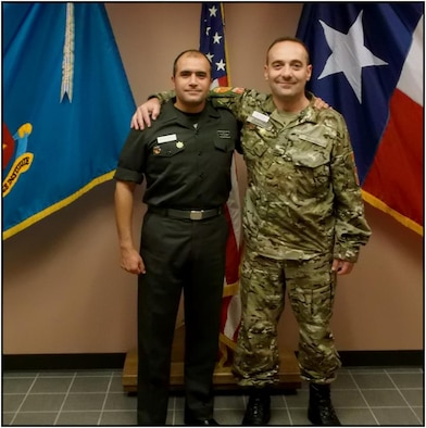 Maj. Saidin, Egyptian Army (left), stands next to his classmate and wingman, Maj. Skupnjak, from the Montenegro Army.  (U.S. Air Force Courtesy Photo)