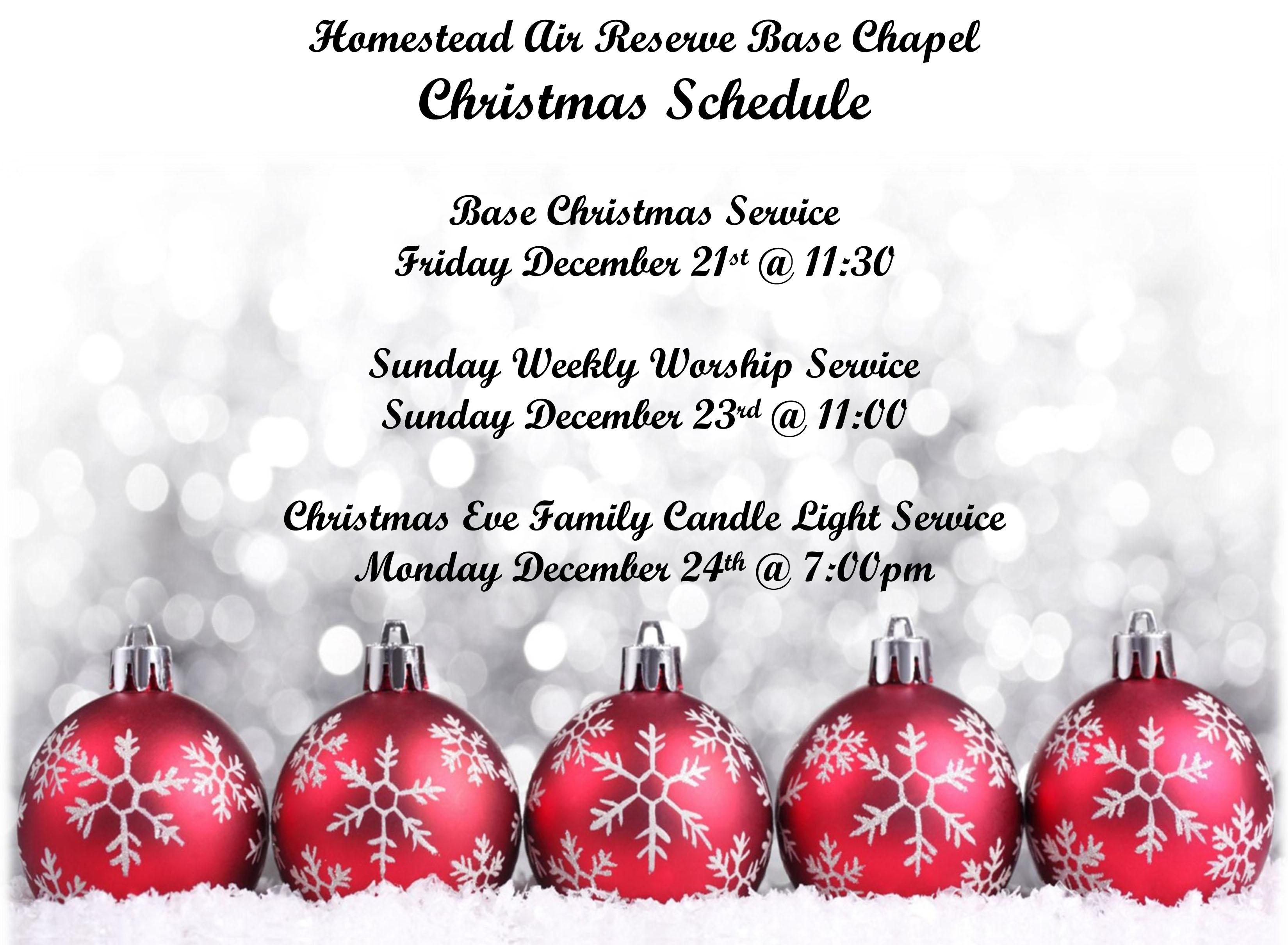Base chapel Christmas schedule > Homestead Air Reserve Base ...