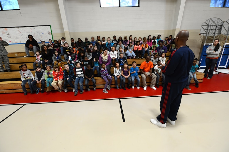 Derrick Stafford, National Basketball Association referee, speaks to kids at the Shaw Air Force Base youth center, S.C., Dec. 14, 2012.  Stafford is in his 25th NBA season and has served twice on the executive board of the NBA Referee Association.  (U.S. Air Force photo by Airman 1st Class Nicole Sikorski/Released)