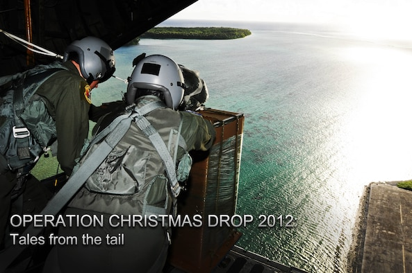 C-130 loadmasters from the 36th Airlift Squadron, Yokota Air Base, Japan, begin air drop delivery of a pallet over Mokil Island as part of Operation Christmas Drop 2012, Dec. 12, 2012. Each year OCD provides aid to more than 30,000 islanders in Chuuk, Palau, Yap, Marshall Islands and Commonwealth of the Northern Mariana Islands. This year is the 61st anniversary of OCD, making it the longest running humanitarian mission in the world. In total, there are eight planned days of air drops, with 54 islands scheduled to receive humanitarian aid. (U.S. Air Force photo/Senior Airman Carlin Leslie/Released)