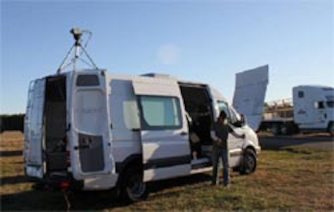 ERDC-TEC's Mobile Electro Optics Laboratory in use at the Patuxent River Naval Air Station's Webster Field site.