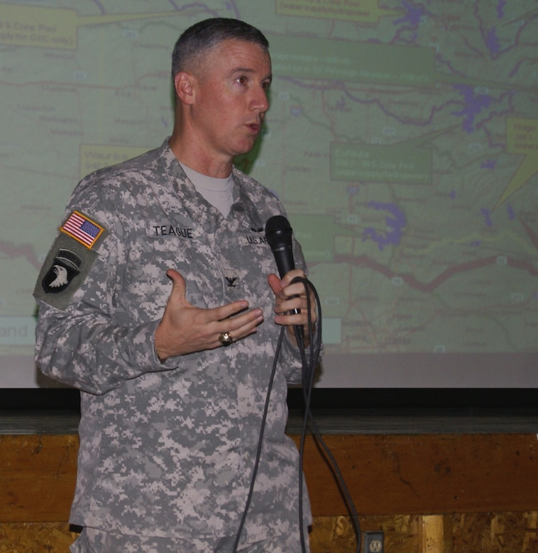 Col. Michael Teague, Tulsa District commander, updates attendees about the affects of the drought on Eufaula Lake.