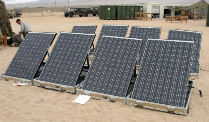 Marines go green with the Ground Renewable Expeditionary Energy Network System. The system uses an array of solar panels that can power a variety of radios, computers and other electronic devices, as well as systems common in combat operations centers. (