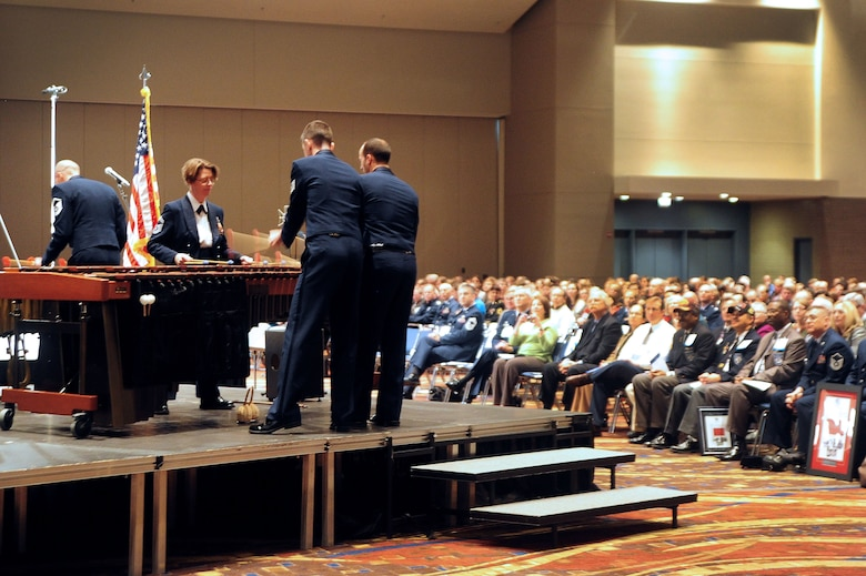 The U.S. Air Force Premier Band percussion ensemble performs for fellow musicians, friends, mentors and fans at the 66th Annual Midwest Clinic, Dec. 19, in Chicago, Ill. The Air Force Band became the talk of the conference on opening day following their morning performance featuring several select ensembles to include the percussion musicians. (U.S. Air Force photo by Senior Airman Steele C. G. Britton)