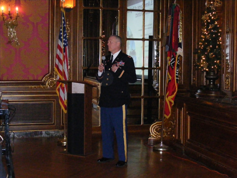 Col Trey Jordan, commander and District Engineer, briefs the Society of American Military Engineers audience at The Engineers Club in Baltimore on Dec. 19.